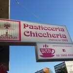 Insegna bifacciale retroilluminata con adesivi - Pasticceria Chiccheria - Piombino (LI)